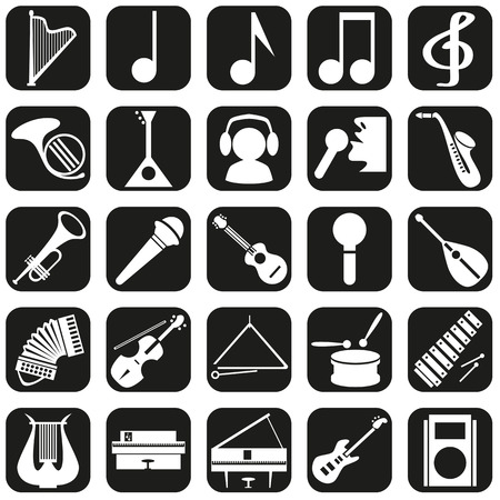 Image icons with music intstrument, notes, musicians schematic. Vector