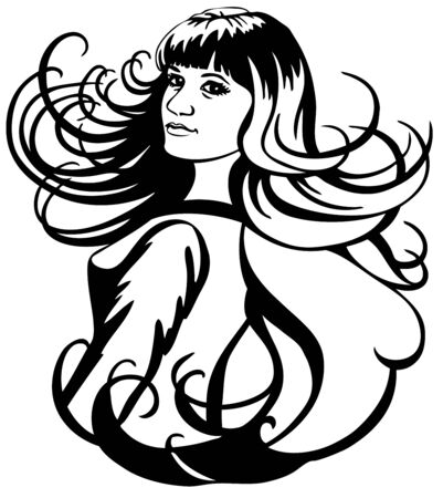 black wigs: image of beautiful girl with her long curly hair on white background.