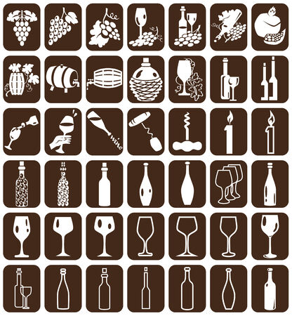 bung: White icons on a brown background with the theme of wine.