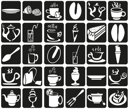 Preview white icons in black rectangles with  theme of coffee and tea. Vector