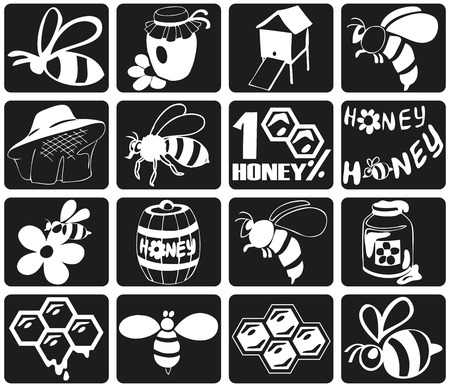 mead: Preview icon black bees, honey, beekeeping attributes.