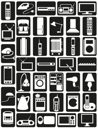 Preview white icons in black rectangles with  topic Appliances. Vector
