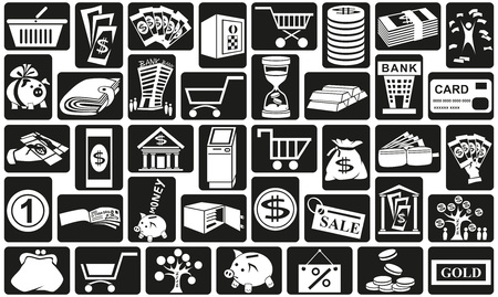 Preview white icons in black rectangles with  subject of money. Vector