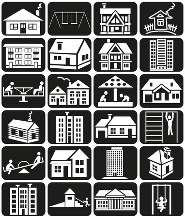 white icons in black rectangles on housing, construction, playground. Vector