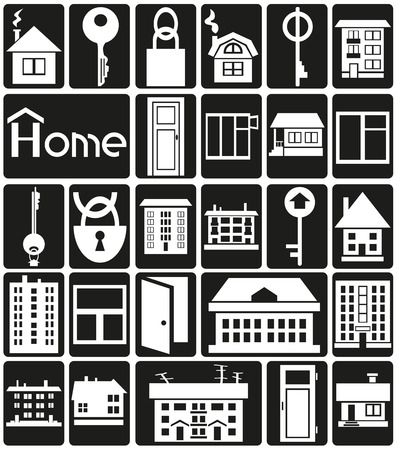 hypothec: White icons in black rectangles with theme of house and construction.