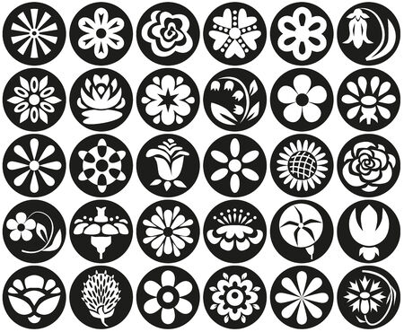 nenuphar: white icons in black circles on flowers and plants. Illustration