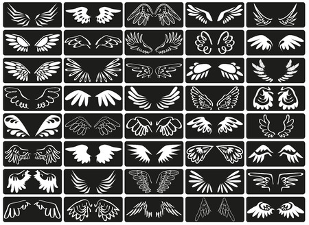eden: Preview icon white wings of birds on a black background.
