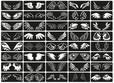 eden: Vorschau Symbol wei�en Fl�gel der V�gel auf schwarzem Hintergrund. Illustration