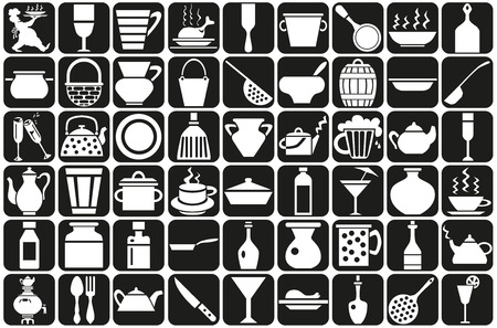 Image of various icons with the dishes. Chef carrying a tray. Vector