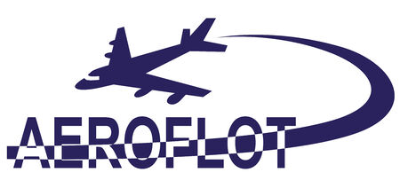 Preview inscriptions with Aeroflot plane and followed him. Illustration