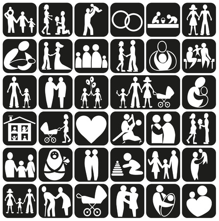 childbearing: Image of various icons with families and couples in love.