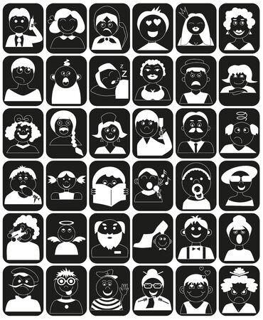 greybeard: Icone di persone di et� diverse in rettangolo nero.