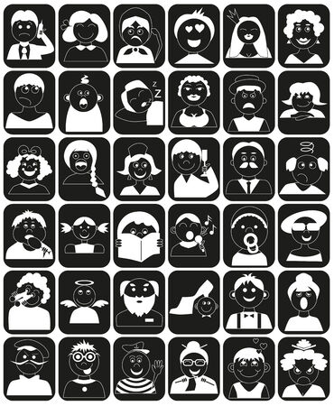 Icons people of different ages in black rectangle.