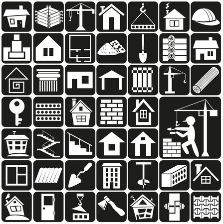 white icons on black background - construction and home.
