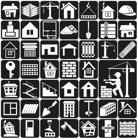 weiße Symbole auf schwarzem Hintergrund - Bau-und Heim.