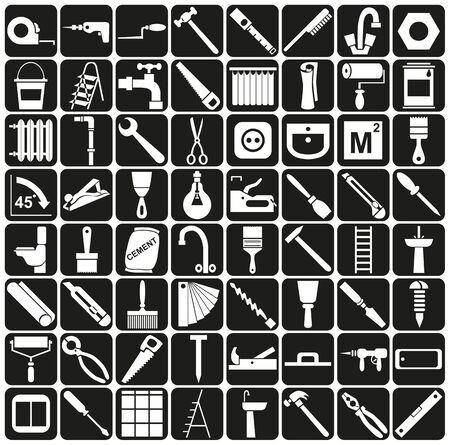 weiße Symbole in schwarzen Rechtecke auf Reparaturen und Werkzeuge.