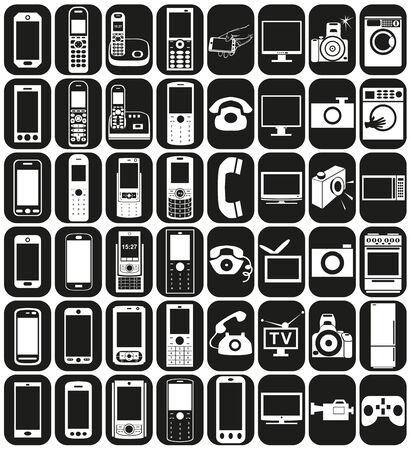 microwave antenna: iconos blancos en rect�ngulos negros en la electr�nica y aparatos electrodom�sticos, tel�fonos.