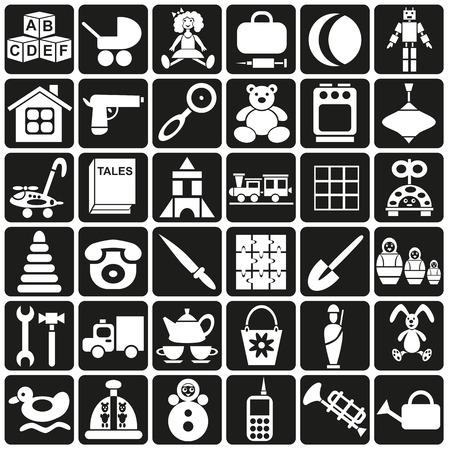 tessera: white icons in black rectangles on childrens toys.