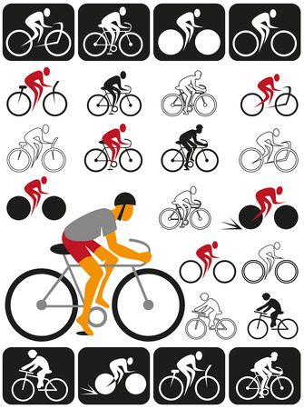 velocipede: Image of various symbols and icons with cyclist. Illustration
