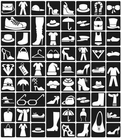 white icons on black background theme: clothes, accessories, shoes. Vector