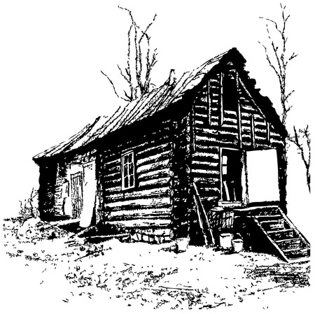 expressive drawing of old rustic log home