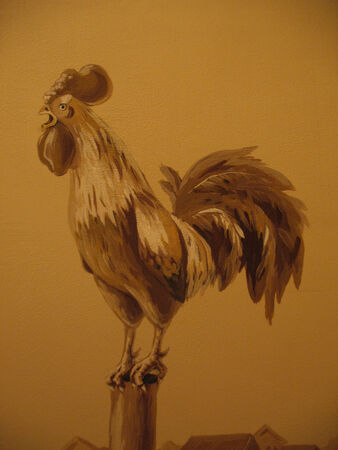mural: Photo mural with image of rooster inbeige color. Stock Photo