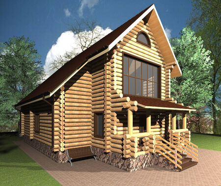 project of wooden one-story house with porch photo