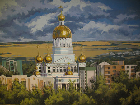 fresco: Photo color paintings depicting cathedral in urban environment.