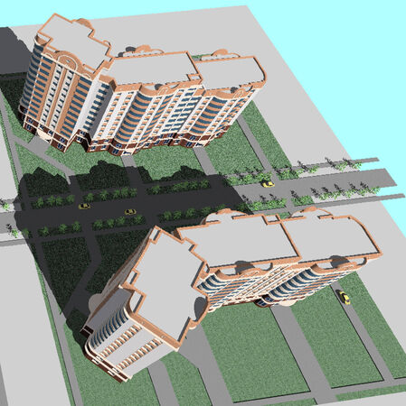 master volume: top view of the building. multistory building project