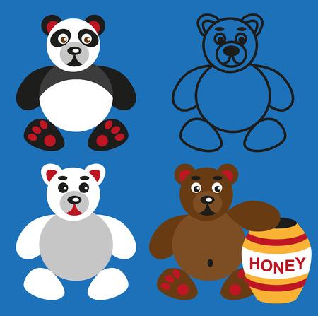 color image of funny cartoon animal bear. Vector