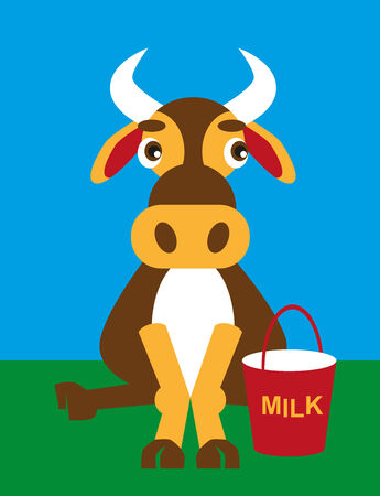 milk pail: color image of funny cartoon animal cow and milk