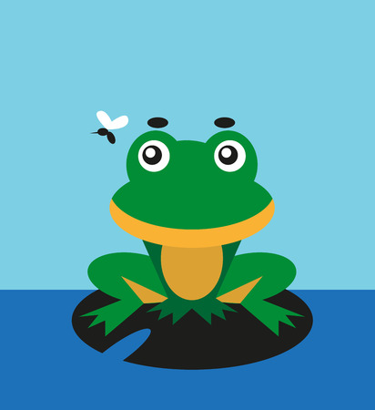 color image of a cartoon funny animal frog. Illustration