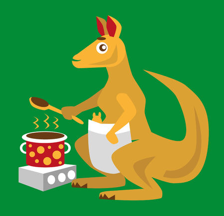 color image funny animal cartoon kangaroo cook. Vector