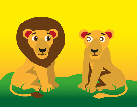 color image of funny cartoon animal lion and lioness Vector