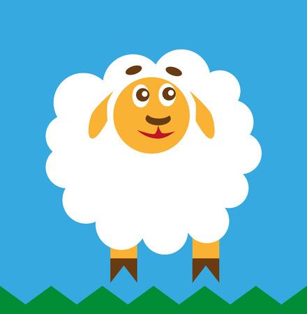 funny animal: color image of a cartoon funny animal sheep.