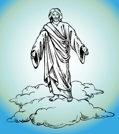 hallow: Figure Jesus Christ stands in clouds vector