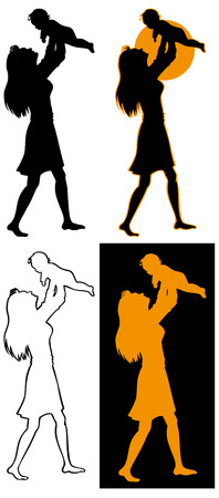 Silhouette image of mother who is holding baby in her arms high. Vector