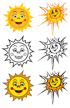 swelter: illustration depicting smiling yellow sun in two versions Illustration