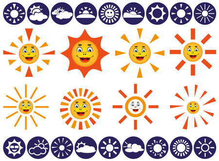 swelter: white icons on blue background weather. vector with image of sun Illustration