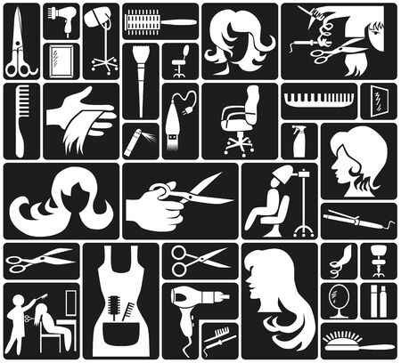 white icons on black background theme hairdresser Vector