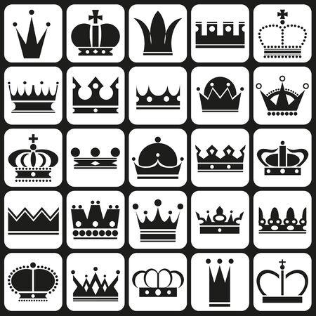 tsar: black icons in white rectangles on royal crown Illustration