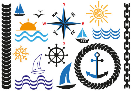 icons on marine theme with anchor, sea and sun