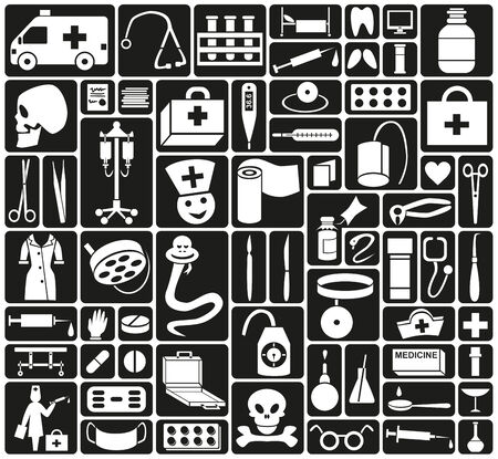 a snake in a bag: white icons on black background theme of doctor and medicine Illustration
