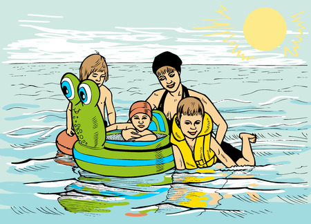 lifejacket: family of four on sea with rubber ring