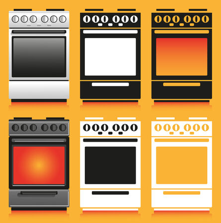 gas stove: Image of household appliances with different design: gas stove. Illustration