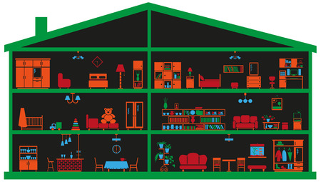 image interior rooms with furniture in context of house on black background Vector