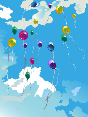 september 1: image of balloons fly in the blue sky