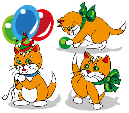 picture of a small ginger kitten with green bow and balloons Vector