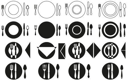 disposition: icons depicting the elements of table setting