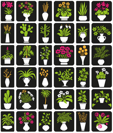 flower room: icons on black background theme houseplants and flowers Illustration